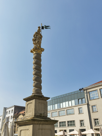 patron of europe: Column topped by statue of St. Florian, patron of firefighters. Maribor, Slovenia.