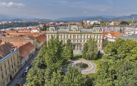 Maribor cityscape with University building, view from Cathedral, Slovenia
