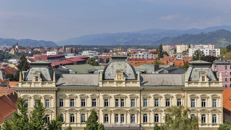 大学の建物は、大聖堂、スロベニアからの眺めとマリボル都市景観