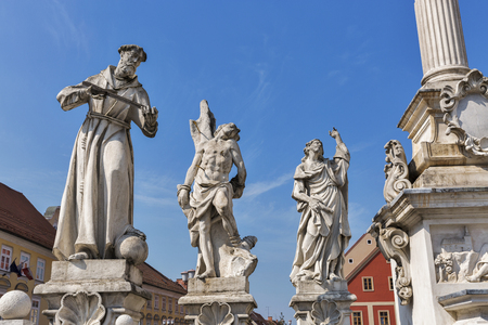 Plague Column statues situated in the Main Square of Maribor, the second largest city of Slovenia.