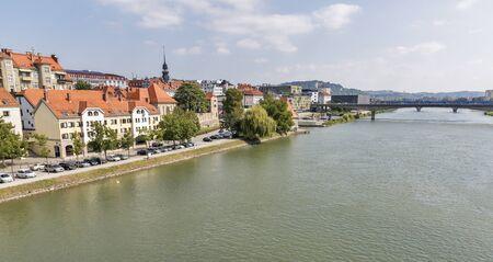 drava: Maribor cityscape and Drava river in Slovenia. Stock Photo