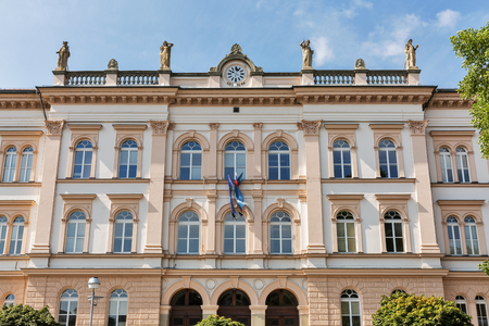 secondary school: Maribor secondary school building facade in Slovenia. The building of the school was planned by Graz based architect Wilhelm Bucherja and built in 1873 in classical style. Editorial