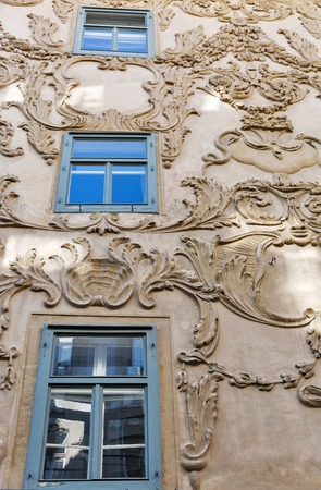 hauptplatz: GRAZ, AUSTRIA - SEPTEMBER 12, 2015: Stucco facade of Luegghaus or Luegg House on street corner of Hauptplatz and Sporgasse in the Old City. Graz is the second largest city in Austria.