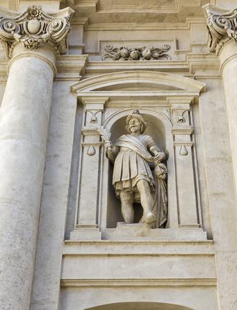ferdinand: Wall statue of St. Catherines church and Mausoleum of Ferdinand II in Graz, Austria