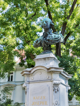 habsburg: Kaiser Joseph II bronze bust in park, Graz, Austria. He was Holy Roman Emperor and ruler of the Habsburg lands till 1790. Stock Photo