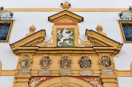 bas relief: Ancient bas relief with Coat of Arms on building wall in Graz, Austria