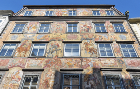 GRAZ, AUSTRIA - SEPTEMBER 12, 2015: Duke court baroque building facade  in downtown on Herrengasse street. Graz is the capital of federal state of Styria and second largest city in Austria. Editorial