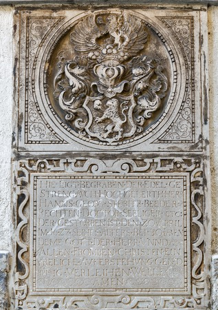 giles: GRAZ, AUSTRIA - SEPTEMBER 12, 2015: Ancient bas relief on the outdoor wall of St. Giles Cathedral or Cathedral of St. Agidius. Graz is the capital of Styria and second largest city in Austria. Editorial