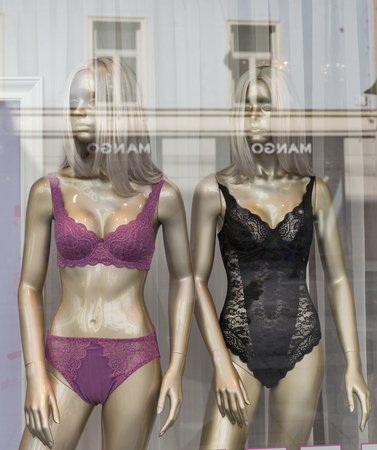 inner wear: GRAZ, AUSTRIA - SEPTEMBER 12, 2015: Women sexy lingerie mannequins closeup in the Mango store window. Mango is a clothing design and manufacturing company, founded in Barcelona, Catalonia, Spain.