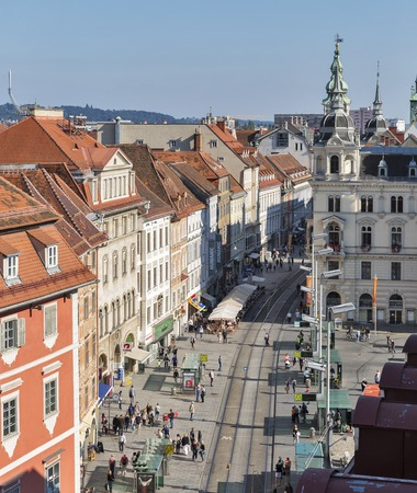 hauptplatz: GRAZ, AUSTRIA - SEPTEMBER 12, 2015: Unrecognized people walk along Hauptplatz square. It is the main square of Graz, the capital of Styria and second largest city in Austria. View from above. Editorial