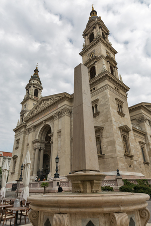 stephen: Budapest Basilica of Saint Stephen on a cloudy day, Hungary. It is a Roman Catholic basilica built in neoclassical style.