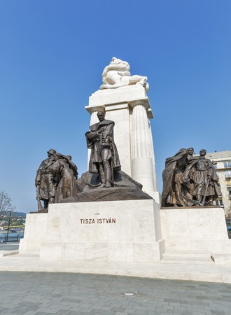 minister of war: BUDAPEST, HUNGARY - SEPTEMBER 24, 2015: Statue of Istvan Tisza, former prime minister of Hungary. The statue was erected in 1934, damaged during World War II and re-inaugurated on June 9, 2014.