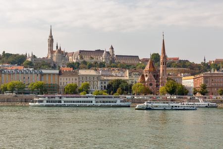 buda: View of Buda side of Budapest with the Buda Castle, St. Matthias and Fishermen Bastion. Hungary.