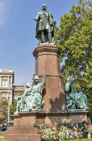 engel: Statue of Istvan Szechenyi, one of the greatest statesmen of Hungarian history, Budapest. The statue by the Hungarian sculptor Joseph Engel was inaugurated on May 23, 1880. Editorial