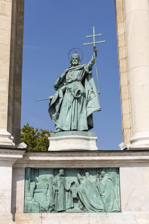 stephen: King Saint Stephen bronze statue. Colonnade of Heroes square monument in Budapest, Hungary. Stock Photo