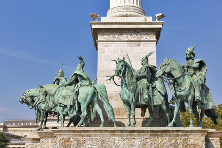 millennium: Heroes Square and the Millennium Monument dedicated to the hungarian kings. Budapest, Hungary.