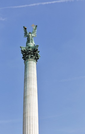 predecessor: Archangel Gabriel statue on the Heroes square in Budapest, Hungary.