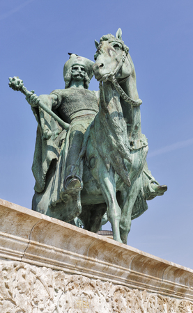 chieftain: Magyar chieftain Tas statue. Millennium Memorial in Heroes Square, Budapest, Hungary.