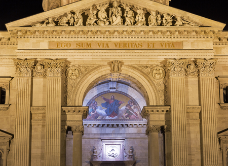 stephen: Budapest Basilica of Saint Stephen facade at night, Hungary. It is a Roman Catholic basilica built in neoclassical style.