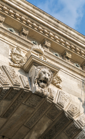 bas relief: Lion bas relief on Chain Bridge on the Danube River in Budapest, Hungary