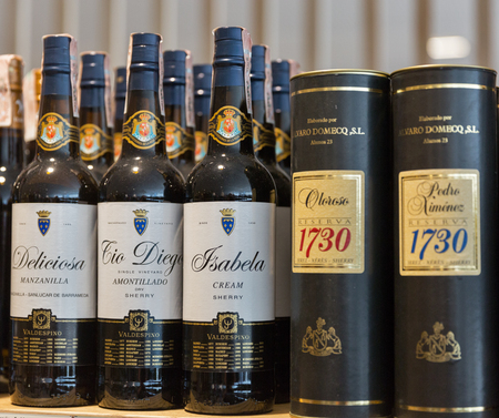KIEV, UKRAINE - JUNE 04, 2016: Sherry wine from Spain wineries closeup presented on the store shelves at Kyiv Wine Festival organized by Good Wine company in Parkovy Exhibition Center.