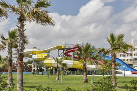 Open air aqua park in Paphos, Cyprus. Banque d'images