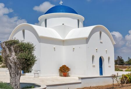 denominational: The multi Denominational Church of St Nicholas on a shore closeup in Paphos, Cyprus