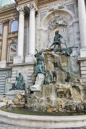 matthias: Matthias Fountain in northwest courtyard of Royal Palace, famous historic landmark in Budapest, Hungary.