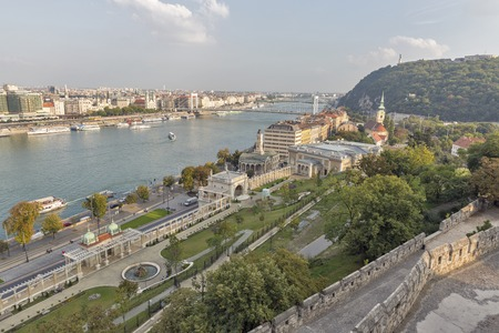 buda: View over Budapest from Buda Castle wall, Hungary Stock Photo