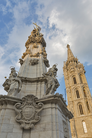 castle district: Holy Trinity Column in front of Matthias church in Buda Castle district, Budapest, Hungary