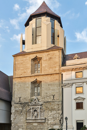 castle district: Ancient tower in Budapest Buda Castle district, Hungary.