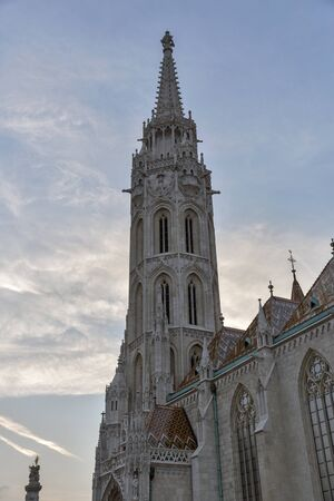 castle district: Matthias church at sunset in Buda Castle district, Budapest, Hungary
