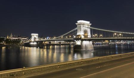 embankment: Chain Bridge at night in Budapest, Hungary.