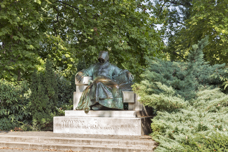 anonymus: BUDAPEST, HUNGARY - SEPTEMBER 23, 2015: Statue of Anonymous Notary of King Bela in Vajdahunyad Castle. Vajdahunyad Castle is part of UNESCO world heritage site and popular tourist attraction.