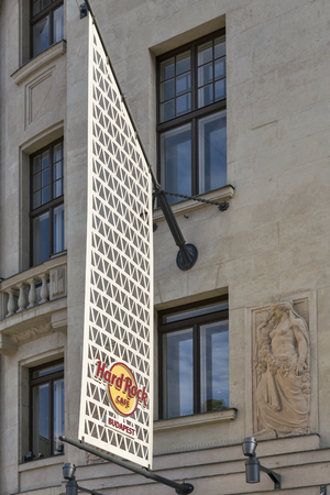 hard rock cafe: BUDAPEST, HUNGARY - SEPTEMBER 23, 2015: Hard Rock Cafe building facade. Its a chain of theme restaurants with currently 191 Hard Rock locations in 59 countries. Editorial