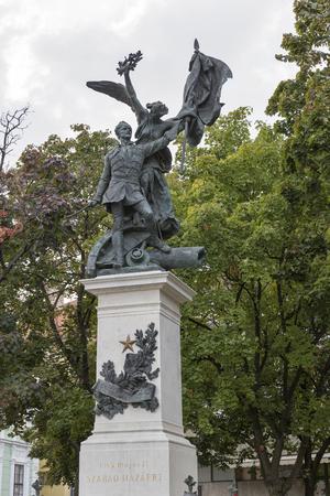 angel de la independencia: Budapest, Hungr�a - 23 de septiembre, 2015: Revoluci�n de Independencia de 1848 composici�n estatua es una de las muchas hermosas obras de arte un recordatorio de la historia en Budapest en el barrio del Castillo. Editorial