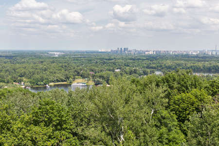 dnipro: Kiev cityscape aerial view with river Dnipro, Ukraine Stock Photo