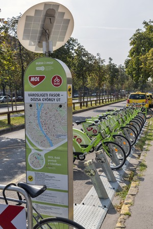 mol: BUDAPEST, HUNGARY - SEPTEMBER 23, 2015: Bicycle Sharing Service Bubi Mol Bike Rental for Public Transport Solution. Service started in 2014, has 1,100 bicycles and 76 sharing stations. Editorial
