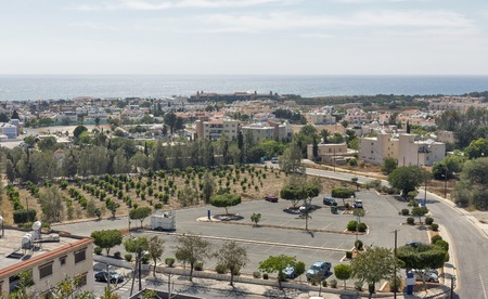 coastal city: Paphos cityscape, residential district. Paphos is a Mediterranean coastal city in the southwest of Cyprus, Europe.