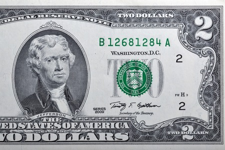two us dollar: Portrait of the third US President Thomas Jefferson on two dollar banknote bill, front side obverse. Stock Photo