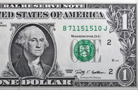 obverse: Portrait of the US President George Washington on one dollar banknote bill, front side obverse.