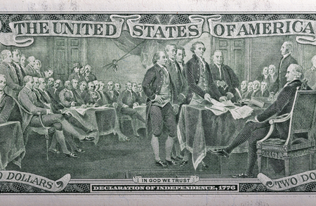 declaring: Declaration of independence, 1776 on the back of a two dollar bill closeup