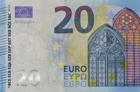 twenty euro banknote: twenty Euro banknote fragment macro