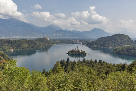 Panoramic above view of Lake Bled from mountain Osojnica in Slovenia Stock Photo