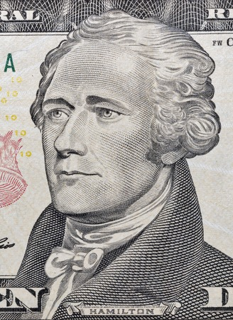 alexander hamilton: Macro di Hamilton faccia sul biglietto da dieci dollari