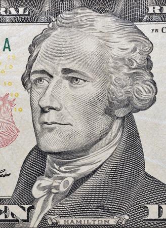 alexander hamilton: Macro of Hamilton face on ten dollar bill