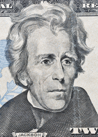andrew: Portrait of the 7th US President Andrew Jackson on twenty dollar banknote bill macro, front side obverse.