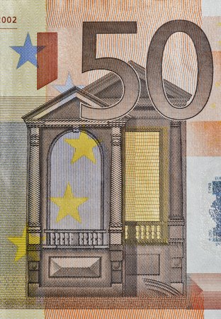 fifty euro banknote: Fifty Euro banknote fragment closeup, front side