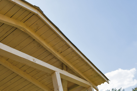 rafters: view of the construction of a pitched roof and sky