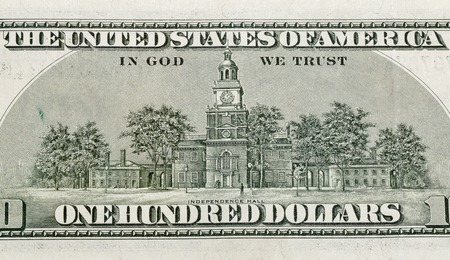 one hundred dollars: US Independence Hall on back of one hundred dollars bill closeup macro